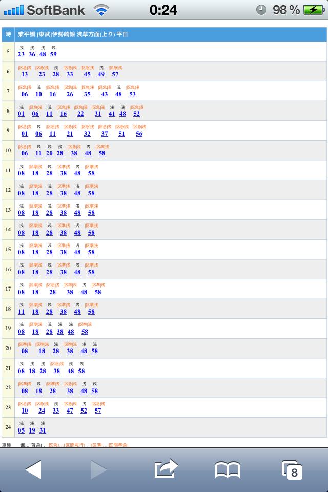 業平橋駅の時刻表
